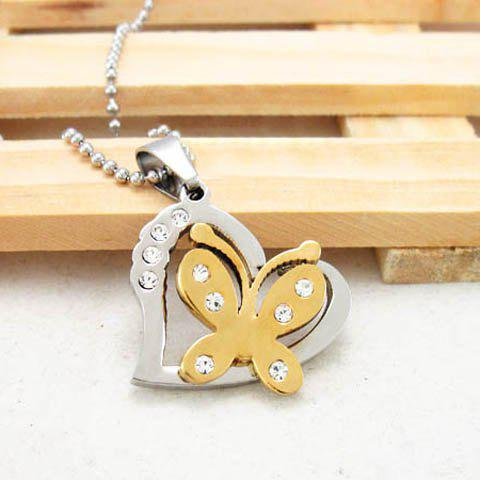 Sweet Elegant Style Butterfly Shape Rhinestone Inlaid Women's Sweater Chain Necklace - GOLD