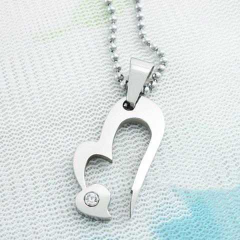 Sweet Cute Style Rhinestone Embellished Heart Shape Women's Necklace - AS THE PICTURE