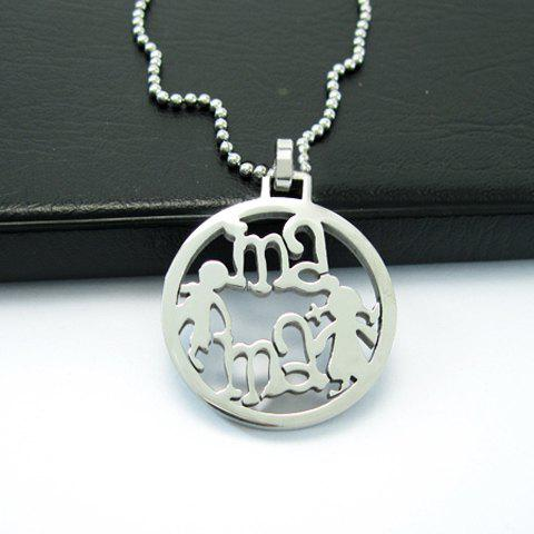 Fashion Exquisite Openwork Circle Pendant Women/Men's Titanium Steel Necklace -  SILVER