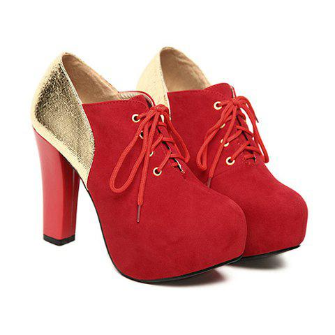 Party Suede Leather Splicing and Sparkling Glitter Design Women's Ankle Boots - RED 36