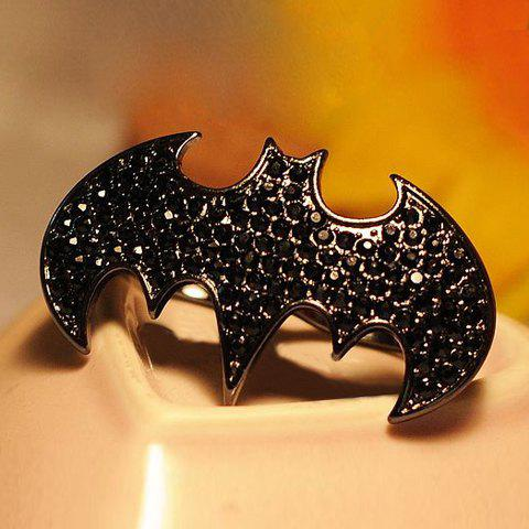 Rhinestoned Bat Shape Finger Ring - AS THE PICTURE