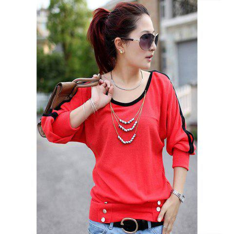 Casual Style Candy Color Openwork Design Long Sleeve Cotton Women's T-Shirt - WATERMELON RED ONE SIZE