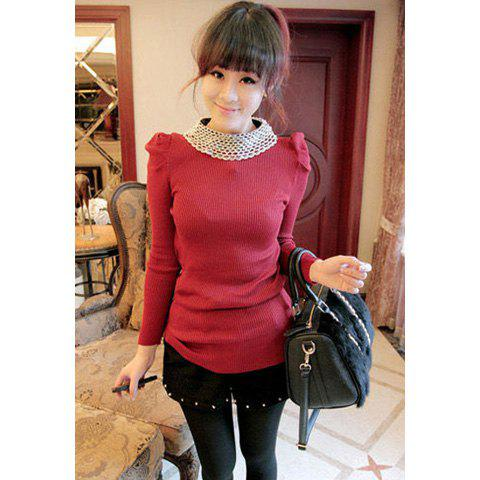 Vintage Bead Embellished Round Neck Slim Fit Puff Sleeve Solid Color Women's Knitwear - RED ONE SIZE