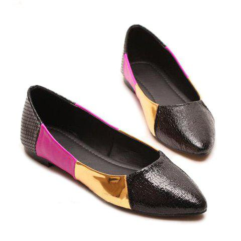 Casual Pointed Toe Color Block Design Women's Flat Shoes - BLACK 36