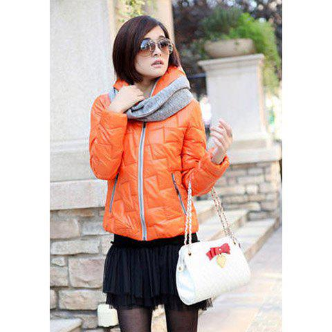 Casual Style Candy Color Hooded Long Sleeve Cotton Padded Women's Short Coat (Without Scarf) - ORANGE L