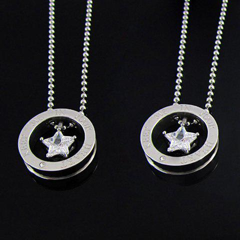Corean Fashion Style Five-Point Star Shape Rhinestone Inlaid Small-Sized Women's Necklace - AS THE PICTURE