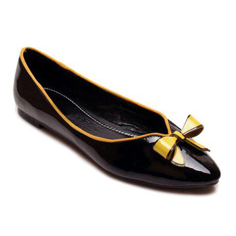 Casual Patent Leather Color Block Bow Design Women's Flat Shoes