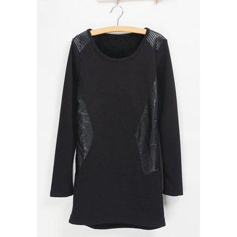 Modern Style Long Sleeve Round Neck Faux Leather Splice Slimming Fleece Long Women's T-Shirt - BLACK M