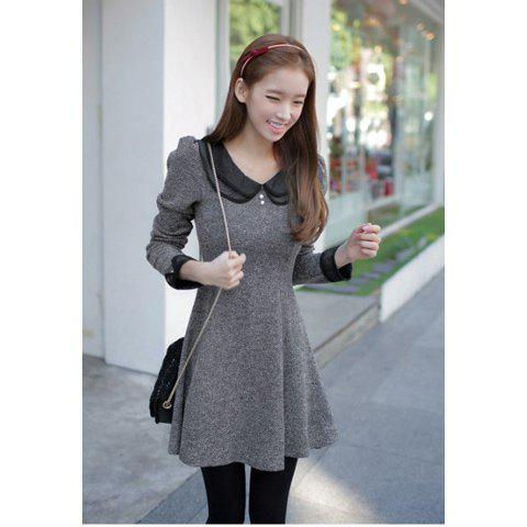 Vintage Style Peter Pan Neck Long Sleeves Flare Hem Double Layer Collar Fitted Cotton Blend Women's Dress - GRAY M