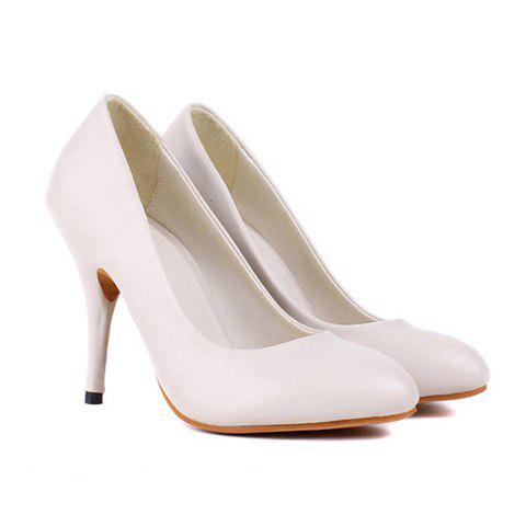 Work PU Leather Candy Color High Heel Design Women's Pumps - APRICOT 36