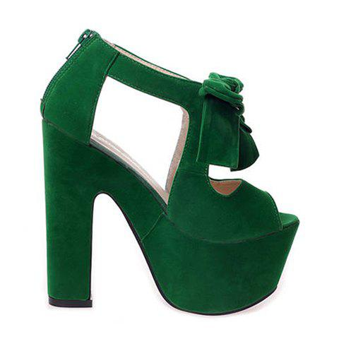 Party Suede High Heel Bow Design Women's Peep-Toed Shoes - GREEN 35