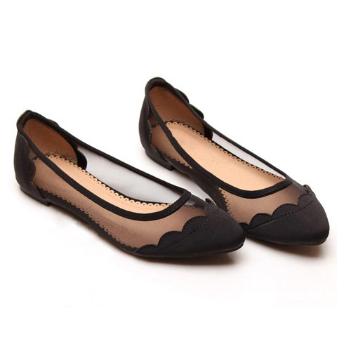 Sexy Casual Splicing and Gauze Design Women's Flat Shoes - BLACK 39