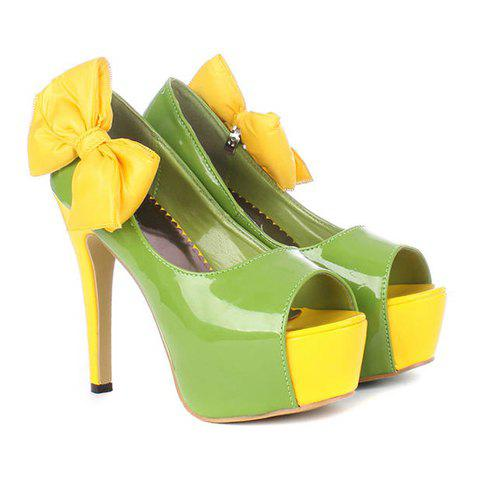 Party High Heel Color Block Bow Design Women's Peep-Toed Shoes - GREEN 35