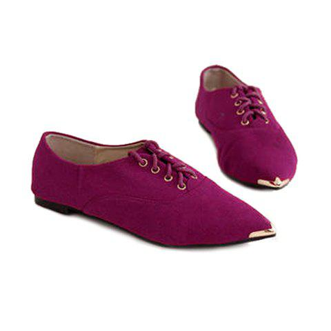 Casual Suede Lace Up Pointed Toe Design Women's Flat Shoes - ROSE 36