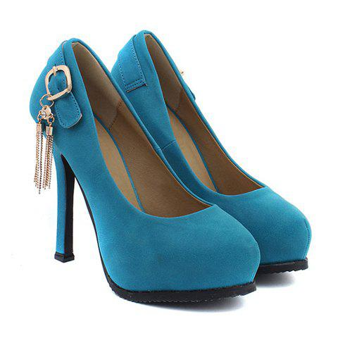 Elegant Party PU Leather Metal and Stiletto Heel Design Women's Pumps - BLUE 37