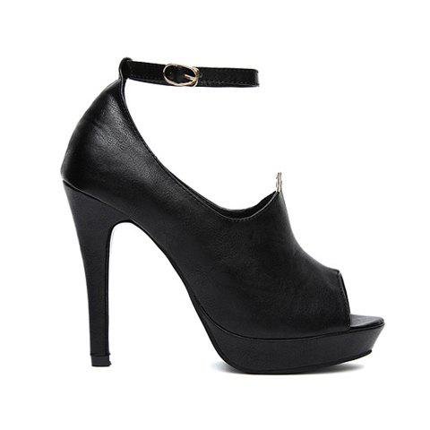 Casual PU Leather Black Sequins Design Women's Peep-Toed Shoes - BLACK 35