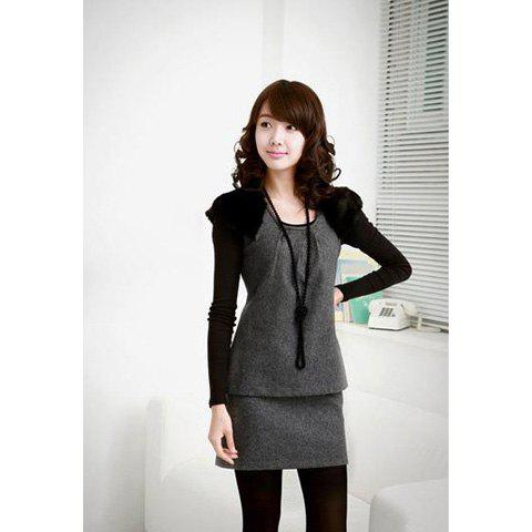 Stylish Scoop Neck Sleeveless Bodycon Style Faux Fur Decorated Shouler Woolen Blend Women's Dress - GRAY M