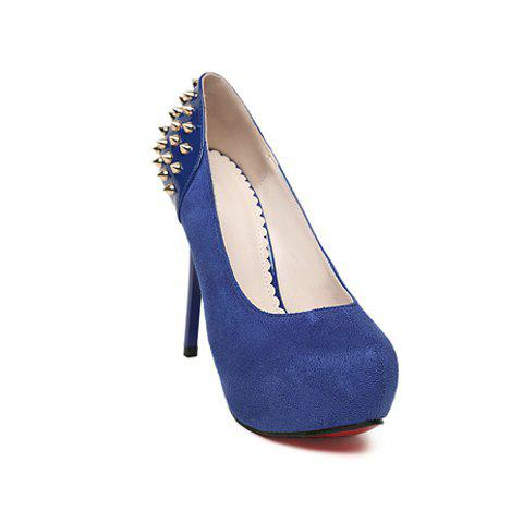 Casual Suede Punk Style Studs Design Women's Pumps - BLUE 36