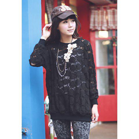 Casual Style Solid Color Scoop Neck Long Sleeve Lace Women's Shirt - BLACK ONE SIZE
