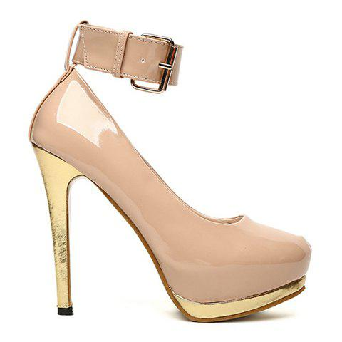 Casual Patent Leather High Heel Belt Buckle Design Women's Pumps - NUDE 35