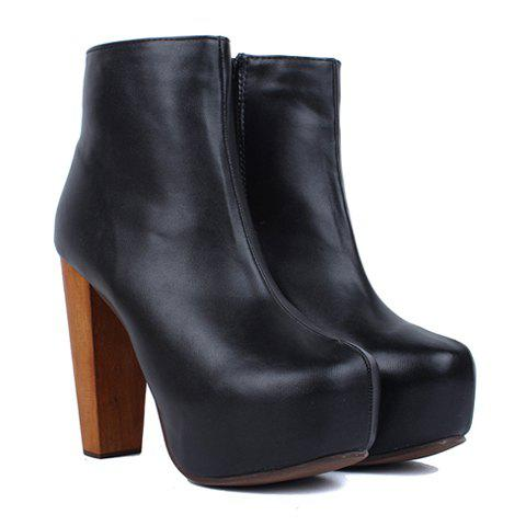 Preppy Style Laconic Solid Color and Side Zip Design Women's Short Boots - 37 BLACK