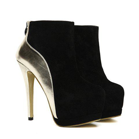 Party Suede Splicing High Heel Design Women's Boots - BLACK 36