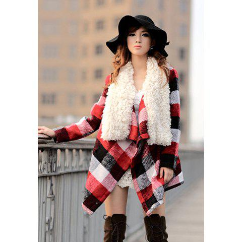 Modern Style Fur Collar Splicing Design Checked Beam Waist Worsted Women's Coat - AS THE PICTURE M