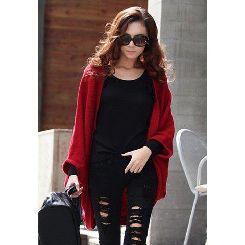 Dolman Sleeves Open Front Cardigan - RED ONE SIZE