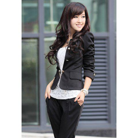 Elegant Solid Color Bowknot Embellished Cotton Blend Women's Blazers - BLACK ONE SIZE