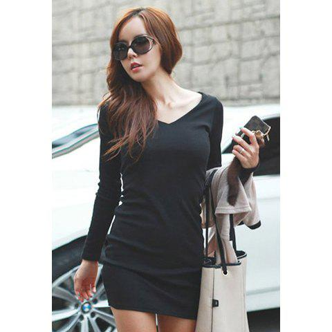 bc1e4d268ec9c Dresslily Sale: Slimming V-Neck Solid Color Over Hip Black Cotton Blend Women's  Long T-Shirt - Shesdeal.com