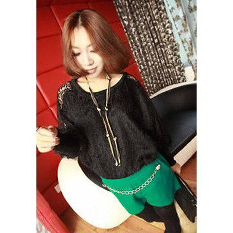Stylish Hook Flower Openwork Splicing Lace Design Batwing Cotton Blend Women's Sweater - BLACK ONE SIZE