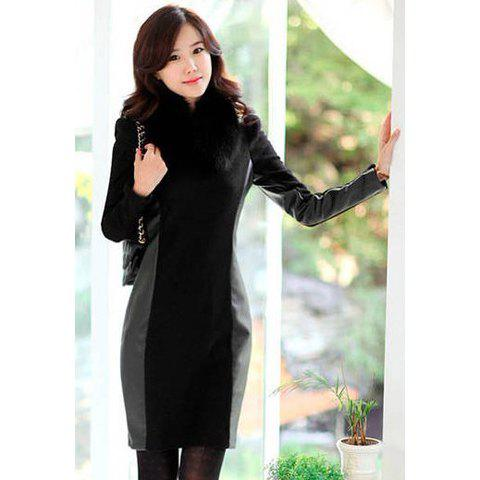 Stylish Style Puff Sleeves Splicing and Waisted Design Women's Dress - BLACK M