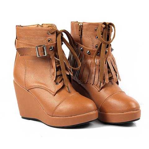 Casual PU Leather Punk Tassels Studs Design Women's Combat Boots - BROWN 37