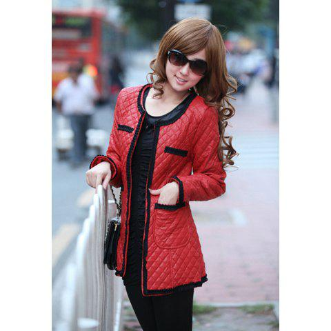 Casual Hot Sale Style Long Sleeves Scoop Neck Solid Color Pocket Embellished Women's PU Leather+Cotton Coat - RED S