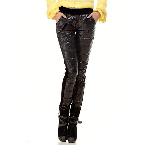 Stylish Black Color Splice Design Slim Fit Thicken Narrow Feet Women's Down Pants - BLACK L