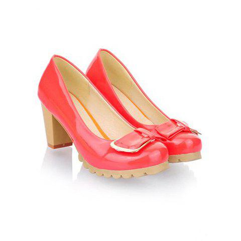 Work Patent Leather Candy Color Bow Design Women's Pumps - WATERMELON RED 37