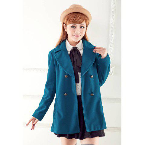 Stylish Style Double-Breasted Design Women's Coat - BLUE L