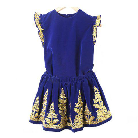 Vintage Round Neck Sleeveless Gold Thread Embroidery Embellished Velvet Blouse + Full Skirt Women's Twinset - NAVY ONE SIZE