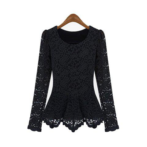 Gorgeous Scoop Neck Long Sleeves Flared Hem Lace Covered Cotton Blend Women's T-Shirt - BLACK XL