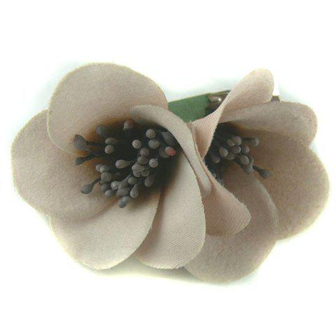 Elegant Fashion Style Double Flowers Shape Brooch For Women - GRAY