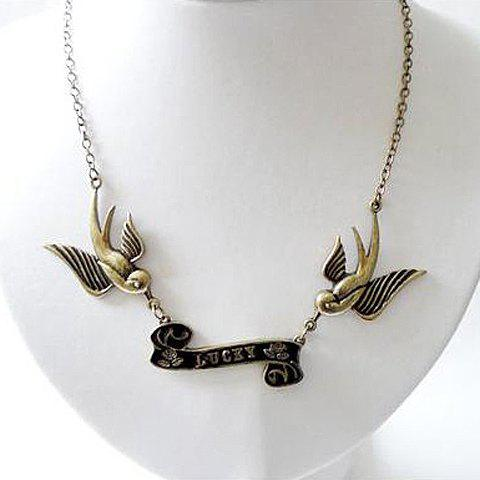Trendsetter Retro Style Swallow Embellished Alloy Women's Necklace -
