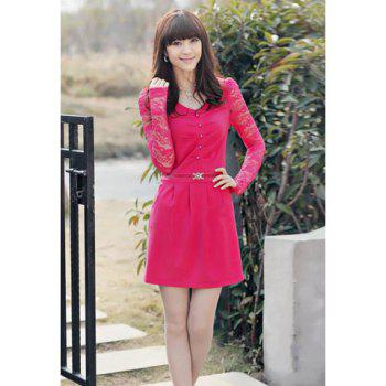 Elegant Splicing Lace Sleeve Pearl Embellished Ruffle Cotton Blend Women's Dress