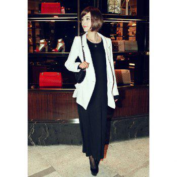 Casual Shawl Neck Long Sleeves Long Style Solid White Good Cut Cotton Blend Women's Blazer