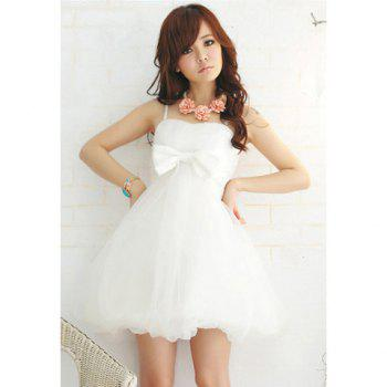 Bowknot Embellished Voile Formal Dress