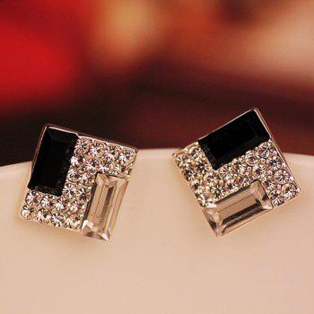 Square Shape Rhinestone Embellished Earrings