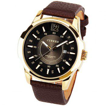 Curren Quartz Watch with 1 Number and Strips Indicate with Round Dial Leather Watch Band for Men - Black - BLACK BLACK