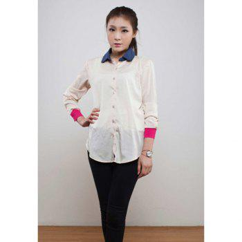 Casual Polo Neck Women's Chiffon Shirt With  Long Sleeve Color Block Cuff Design