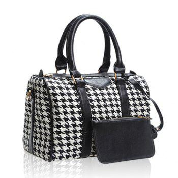New Arrival Bucket Shape PU Leather Checked Design Tote For Women - CHECKED CHECKED