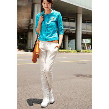Street Style Button Embellished Solid Color Slimming Women's Harem Pants