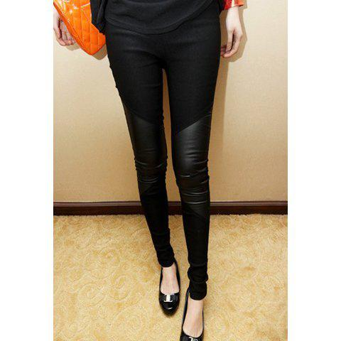 Fashionable Faux Leather Splicing Slimming Cotton Women's Leggings - BLACK ONE SIZE